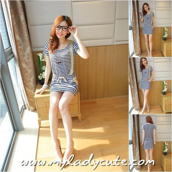 Summer Dress เดรสแฟชั่นเกาหลี ผ้า Stretch cotton แต่งสายสีทอง มีสายผูกเอวเย็บซ่อนในตัวชุด มีกระเป๋าช่วงกระโปรง สีขาว-ดำ