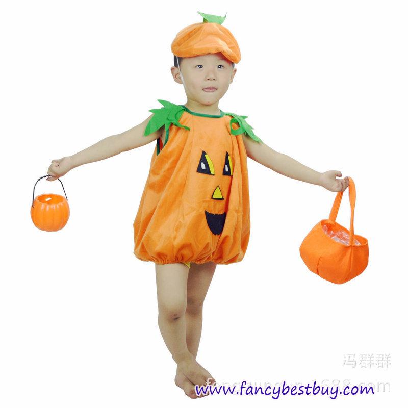 ชุดฟักทองแฟนซีเด็กทารก สำหรับวันฮาโลวีน ใช้ได้ทั้งเด็กชายหญิง ขนาดฟรีไซด์ สำหรับเด็ก 80-110 ซม. (เสื้อ+หมวก)