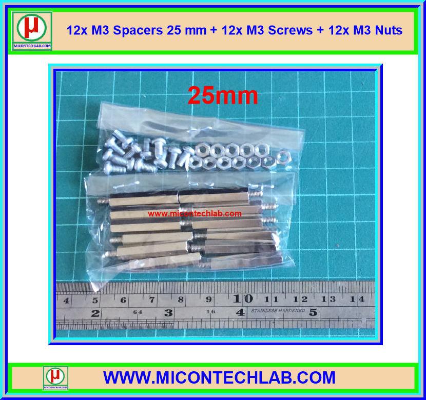 12x M3 Spacers 25 mm + 12x M3 Screws + 12x M3 Nuts (เสารองพีซีบีแบบปลายผู้เมีย 25 มม)