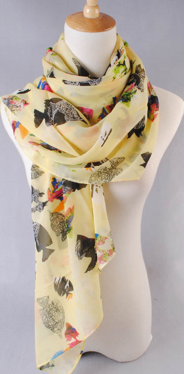 ผ้าพันคอผ้าชีฟองสีเหลือง ( รหัส P260 )