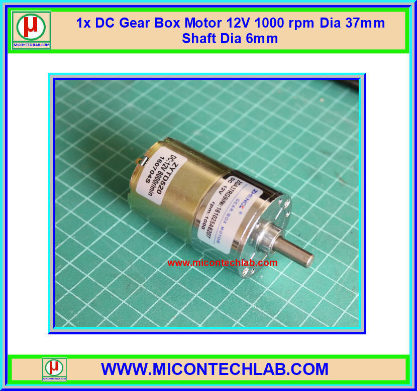 1x DC Gear Box Motor 12V 1000 rpm Dia 37mm Shaft Dia 6mm