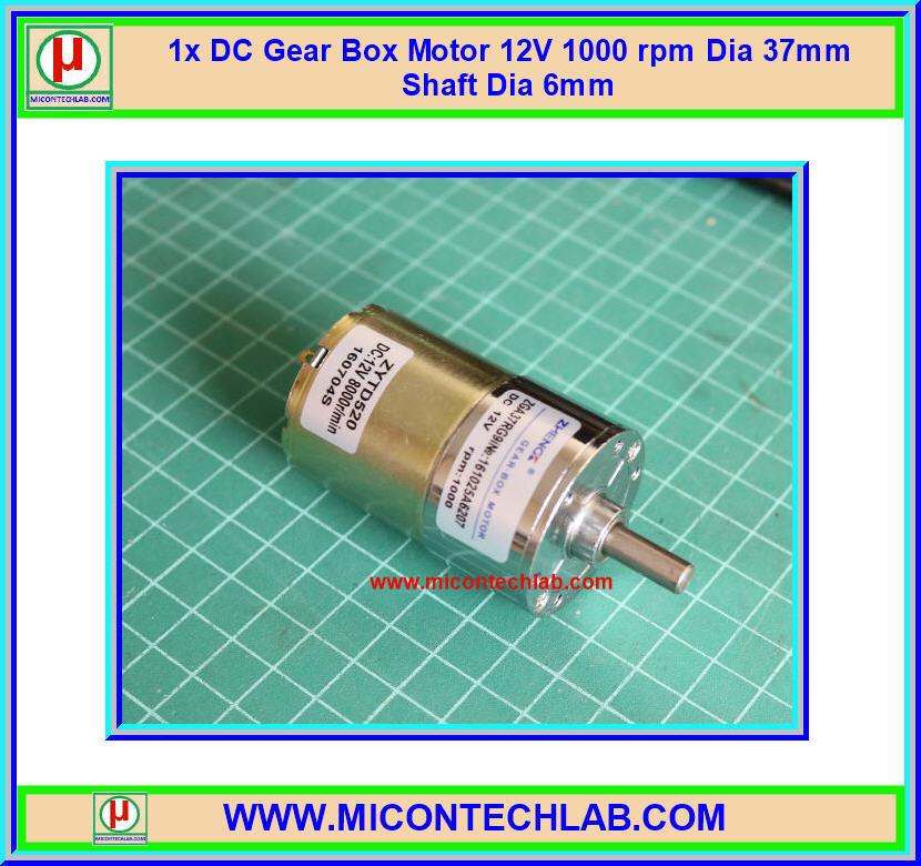 1x DC Gear Box Motor 12V 1000 rpm Dia 37mm Shaft Dia 6mm