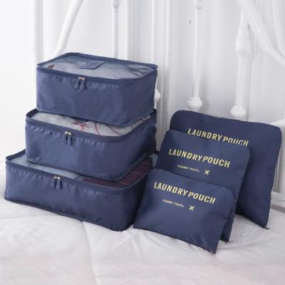 (สีน้ำเงิน) กระเป๋าจัดระเบียบ 1 Set มี 6 ใบ