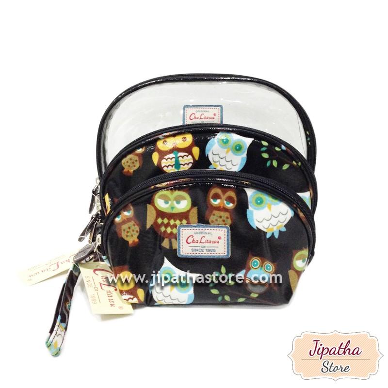 กระเป๋าจัด SET 3 ใบ สีดำ ลายนกฮูก