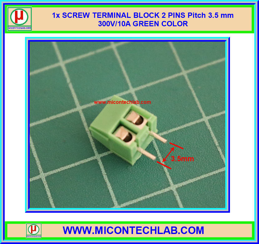 1x SCREW TERMINAL BLOCK 2 PINS Pitch 3.5 mm 300V/10A GREEN COLOR