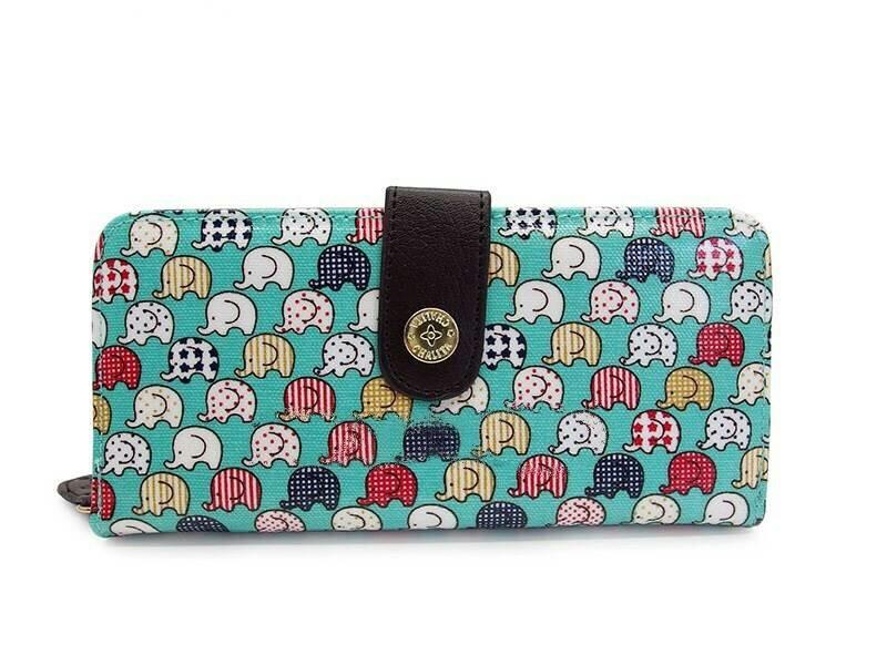 กระเป๋าสตางค์ Chalita wu สีฟ้า ลายช้างเล็ก