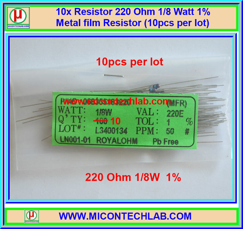 10x Resistor 220 Ohm 1/8 Watt 1% Metal film Resistor (10pcs per lot)