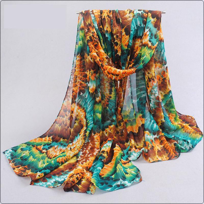 ผ้าพันคอชีฟอง หลากสีโทนเขียว