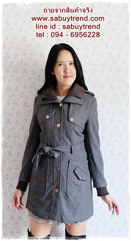 ((ขายแล้วครับ))((จองแล้วครับ))ca-2679 เสื้อโค้ทกันหนาวสีเทา รอบอก34