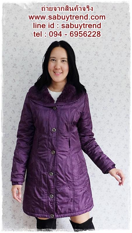 ((ขายแล้วครับ))((คุณThanchanokจองครับ))ca-2599 เสื้อโค้ทกันหนาวผ้าร่มสีม่วง รอบอก38