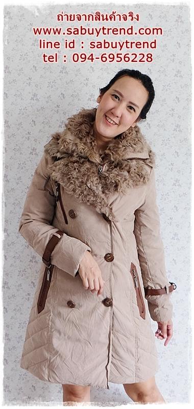 ((ขายแล้วครับ))((คุณพนิดาจองครับ))ca-2804 เสื้อโค้ทกันหนาวสีกากี รอบอก38