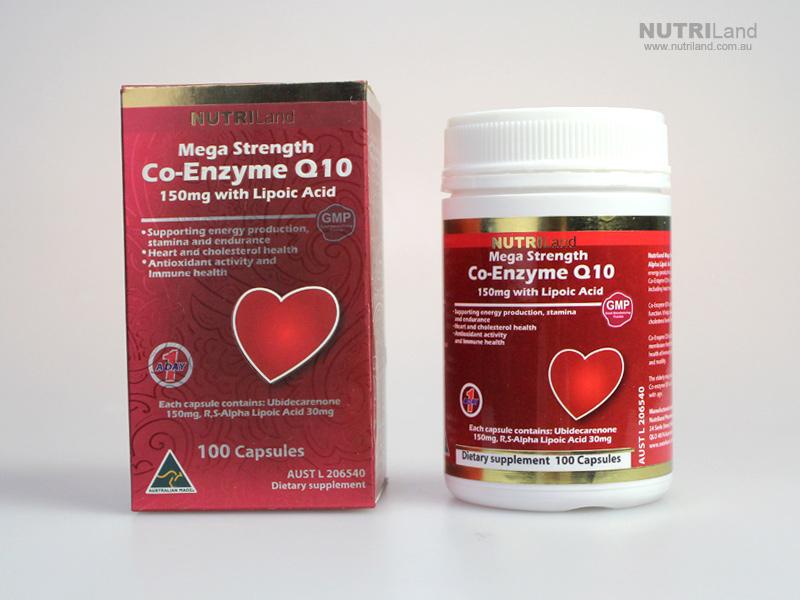 Nutriland Co Q 10 โคเอ็นไซม์ คิวเทน 150mg. + กรดอัลฟาไลโปอิก จำนวน 100 แคปซูล ส่งฟรี ems